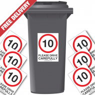 10 mph Please Drive Carefully Speed Reduction Wheelie Bin Stickers