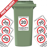 20 Is Plenty Speed Reduction Wheelie Bin Stickers