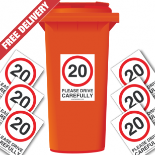 20 mph Please Drive Carefully Speed Reduction Wheelie Bin Stickers