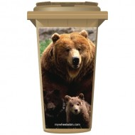 3 Brown Bears Wheelie Bin Sticker Panel