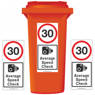 30 mph Average Speed Check Speed Reduction Wheelie Bin Stickers XL