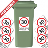 30 mph Please Drive Carefully Speed Reduction Wheelie Bin Stickers