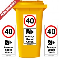 40 mph Average Speed Check Speed Reduction Wheelie Bin Stickers XL