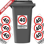 40 mph Please Drive Carefully Speed Reduction Wheelie Bin Stickers