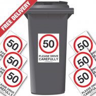 50 mph Please Drive Carefully Speed Reduction Wheelie Bin Stickers