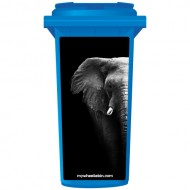 Elephant On Black Background Wheelie Bin Sticker Panel