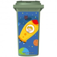 Astronaut Boy In A Space Ship Wheelie Bin Sticker Panel