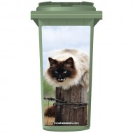 Barn Cat On A Post Wheelie Bin Sticker Panel
