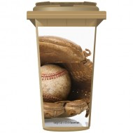 Baseball In A Glove Wheelie Bin Sticker Panel