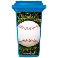 Baseball In Long Grass Wheelie Bin Sticker Panel