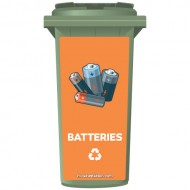 Batteries Recycling Wheelie Bin Sticker Panel