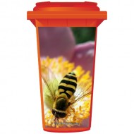 Bee On A Flower Wheelie Bin Sticker Panel