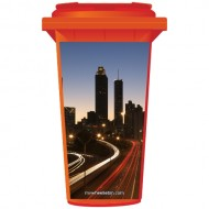 Big City At Night Wheelie Bin Sticker Panel