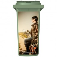 Biker Chick On A Motorbike Wheelie Bin Sticker Panel
