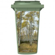 Birch Trees in A Forest Wheelie Bin Sticker Panel