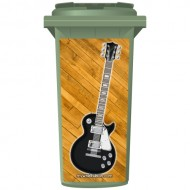 Black Fender Style Electric Guitar Wheelie Bin Sticker Panel