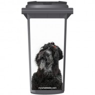 Black Terrior Dog With Red Bow Wheelie Bin Sticker Panel