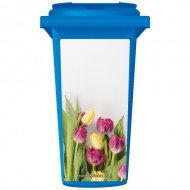 Blossoming Pink And Yellow Tulips Wheelie Bin Sticker Panel