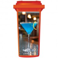 Blue Cocktail On A Bar Wheelie Bin Sticker Panel