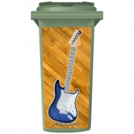 Blue Fender Style Electric Guitar Wheelie Bin Sticker Panel