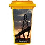 Bridge At Sunset Wheelie Bin Sticker Panel