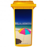 Bright Umbrella On A Beach Wheelie Bin Sticker Panel