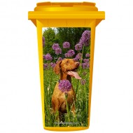 Brown Dog In The Flowers Wheelie Bin Sticker Panel