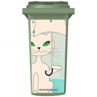 Cat In The Rain Wheelie Bin Sticker Panel