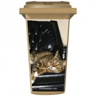 Cat On A leather Chair Wheelie Bin Sticker Panel