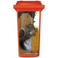 Cheeky Squirrel Eating Corn Wheelie Bin Sticker Panel