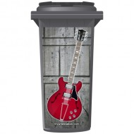 Cherry Red Electric Guitar Style Wheelie Bin Sticker Panel