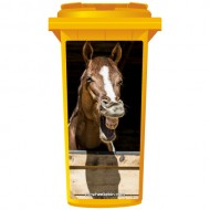 Chestnut Horse Laughing Wheelie Bin Sticker Panel