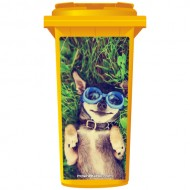 Chihuahua Thinks He's Swimming Wheelie Bin Sticker Panel