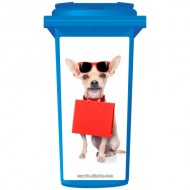 Chihuahua With Doggie Bag Wheelie Bin Sticker Panel