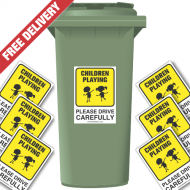 Children Playing Please Drive Slowly Speed Reduction Wheelie Bin Stickers