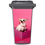 Chihuahua In A Box Wheelie Bin Sticker Panel
