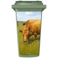 Cow In A Meadow Wheelie Bin Sticker Panel