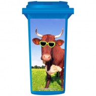 Crazy Red Bull Wearing Shades Wheelie Bin Sticker Panel