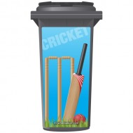 Cricket Bat And Wickets Wheelie Bin Sticker Panel