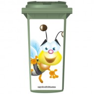 Cute Mr Bee Wheelie Bin Sticker Panel