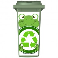 Cute Recycling Frog Wheelie Bin Sticker Panel