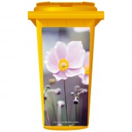 Delicate Pink Flower Wheelie Bin Sticker Panel