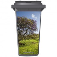 Flowering Tree In A Field Wheelie Bin Sticker Panel