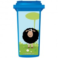 Fluffy Black Sheep Wheelie Bin Sticker Panel