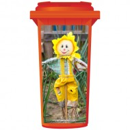 Friendly Scarecrow In A Yellow Bonnet Wheelie Bin Sticker Panel