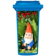 Gnome In The Flowers Wheelie Bin Sticker Panel