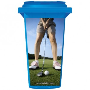 Golf Putting On The Green Wheelie Bin Sticker Panel