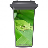 Green Frog On A Leaf Wheelie Bin Sticker Panel