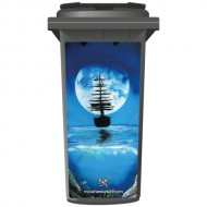 Brett Day Moonlight Ship Wheelie Bin Sticker Panel