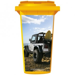 Jeep On The Beach Wheelie Bin Sticker Panel